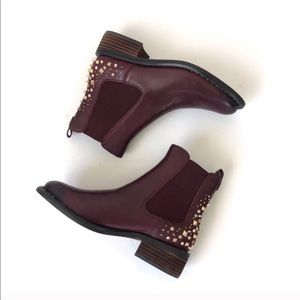 Sam Edelman Dover Maroon Studded Ankle Boots